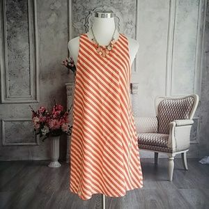 Everly Women's Dress Coral White Size Large